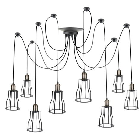 PrimeMatik - Lámpara con jaulas largas para 8 bombillas de rosca E27 vintage con cable de 3m