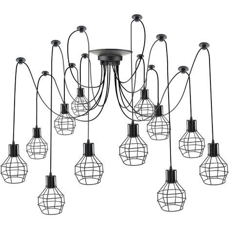 PrimeMatik - Lámpara con jaulas redondas para 12 bombillas de rosca E27 vintage con cable de 3m