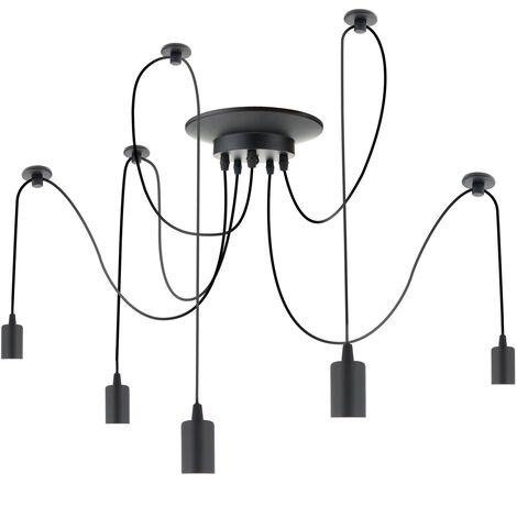 PrimeMatik - Lámpara para 5 bombillas de rosca E27 vintage con cable de 3m