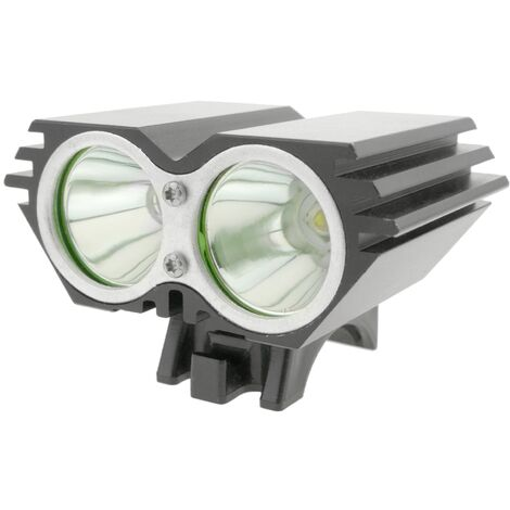 PrimeMatik - LED front light for head and bicycle with 8000 mAh battery 2000 lumens 2 x T6 XLamp