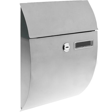 PrimeMatik - Letter mail post box mailbox letterbox antique metallic gray color for wallmount 212 x 71 x 306 mm