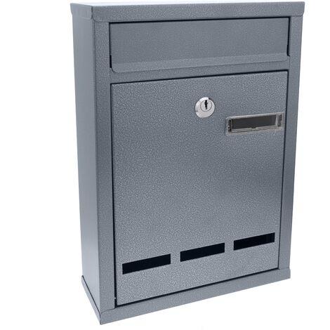 PrimeMatik - Letter mail post box mailbox letterbox metallic gray color for wallmount 215 x 81 x 316 mm