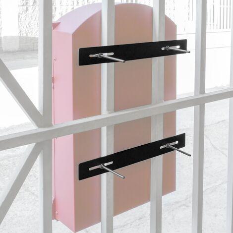 "main image of ""PrimeMatik - Mailbox fence rail kit 25cm. Metal fixing bars for letterbox"""