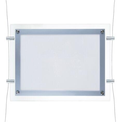 PrimeMatik - Marco cuadro iluminado por LED A2 670x495mm doble cara de metacrilato para cartel anuncio letrero