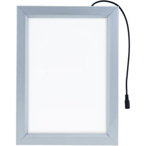 PrimeMatik - Marco cuadro iluminado por LED A4 250x340mm de doble cara para cartel anuncio letrero