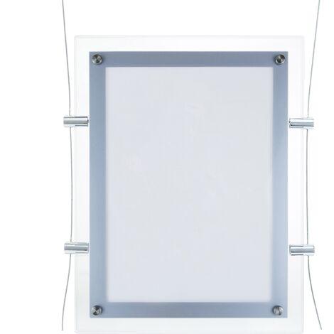 PrimeMatik - Marco cuadro iluminado por LED A4 313x365mm doble cara de metacrilato para cartel anuncio letrero