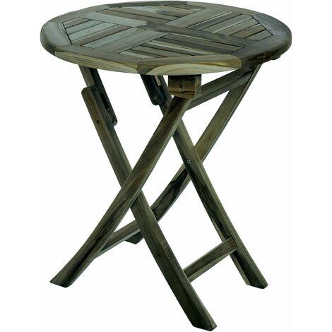 PrimeMatik - Mesa redonda 66 cm plegable para jardín exterior de madera de teca certificada