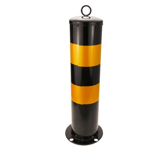 PrimeMatik - Metal bollard with nailed base 12x50 cm 1-pack