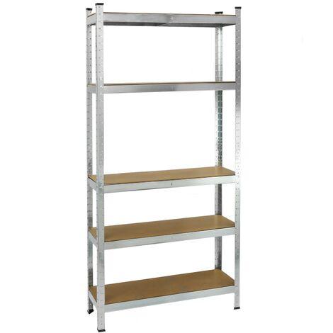 PrimeMatik - Metal tier racking garage shelving for storage with 5 wooden shelves 70x30x150 cm