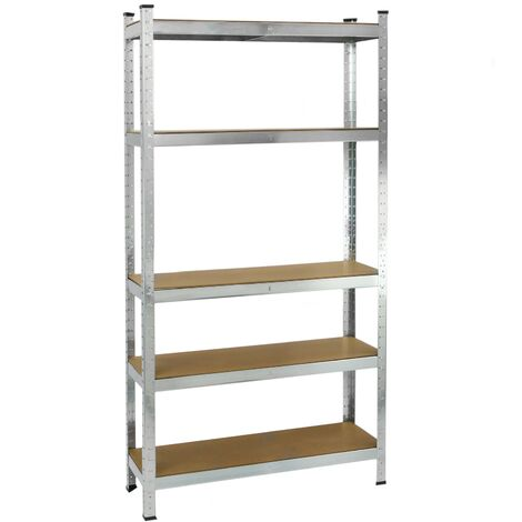 PrimeMatik - Metal tier racking garage shelving for storage with 5 wooden shelves 90x30x180 cm