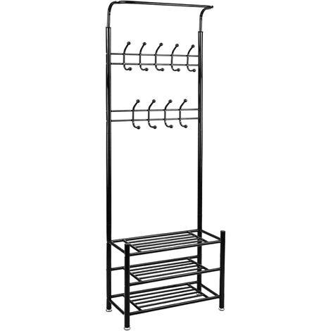 PrimeMatik - Metallic coat rack organiser for entrance with shoe rack storage with 18 hangers black
