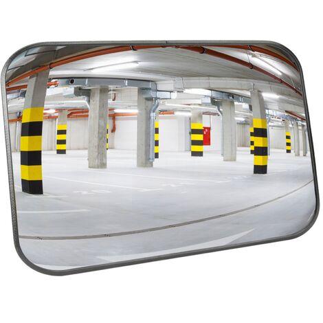 PrimeMatik - Miroir convexe de signalisation de sécurité de forme rectangulaire 60x40 cm
