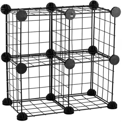 PrimeMatik - Modular shelving closet storage organizing 4 metal cube 17x17cm black
