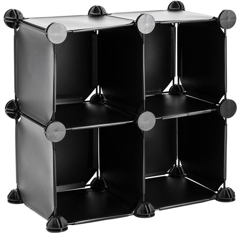 PrimeMatik - Modular shelving closet storage organizing 4 plastic cube 17x17cm black