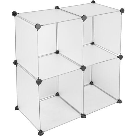PrimeMatik - Modular shelving closet storage organizing 4 plastic cube 35x35cm white