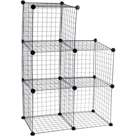 PrimeMatik - Modular shelving closet storage organizing 5 metal cube 35x35cm black