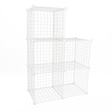 PrimeMatik - Modular shelving closet storage organizing 5 metal cube 35x35cm white