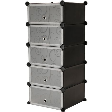 PrimeMatik - Modular shelving closet storage organizing 5 plastic cube 17x35cm black with doors and patterned