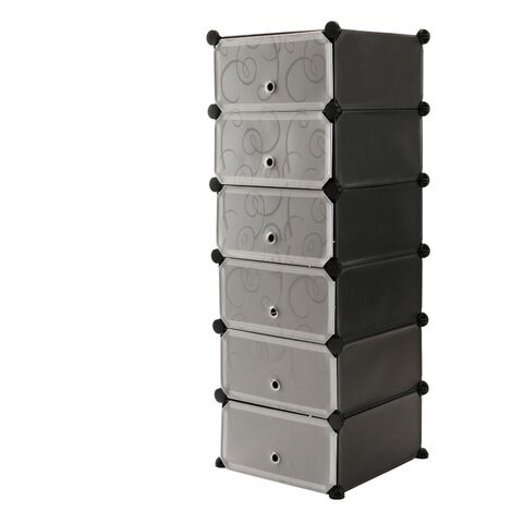 PrimeMatik - Modular shelving closet storage organizing 6 plastic cube 17x35cm black with doors and patterned