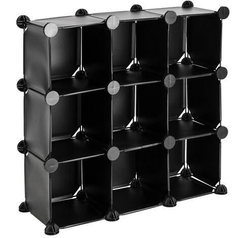 PrimeMatik - Modular shelving closet storage organizing 9 plastic cube 17x17cm black