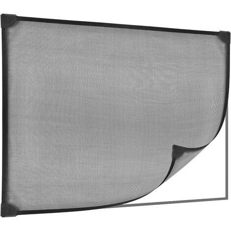 PrimeMatik - Mosquito net for window max 100 x 120 cm magnetic black flexible PVC