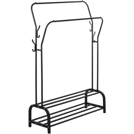 PrimeMatik - Multifunctional black metal coat rack with double hanger and 2 low shelves