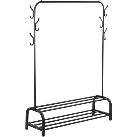 PrimeMatik - Multifunctional black metal coat rack with hanger and 2 low shelves