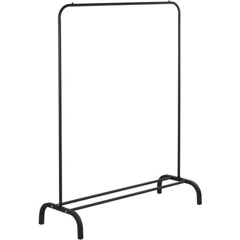 PrimeMatik - Multifunctional black metal coat rack with hanger and low shelf