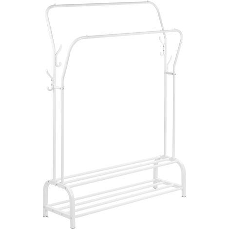 PrimeMatik - Multifunctional white metal coat rack with double hanger and 2 low shelves