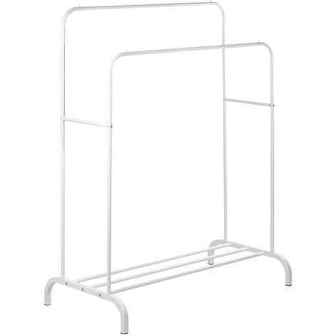 PrimeMatik - Multifunctional white metal coat rack with double hanger and low shelf