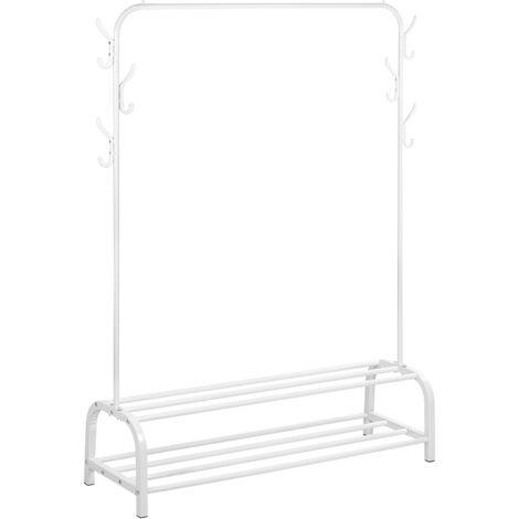 PrimeMatik - Multifunctional white metal coat rack with hanger and 2 low shelves