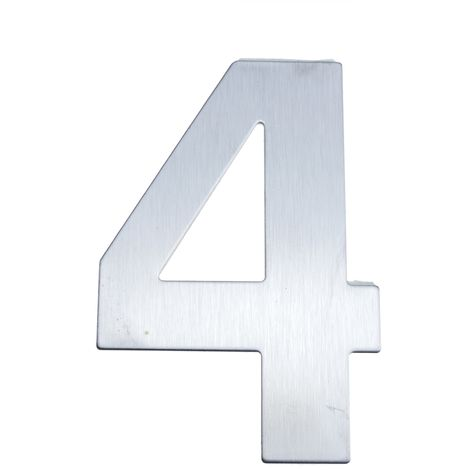 PrimeMatik - Number 4 8 cm stainless steel with adhesive labeling