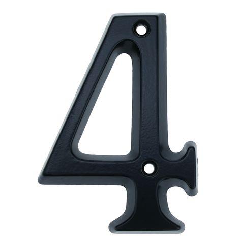 PrimeMatik - Number 4 in black metal 95mm with screws for labeling