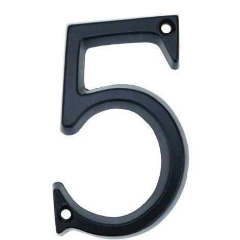 PrimeMatik - Number 5 in black metal 95mm with screws for labeling