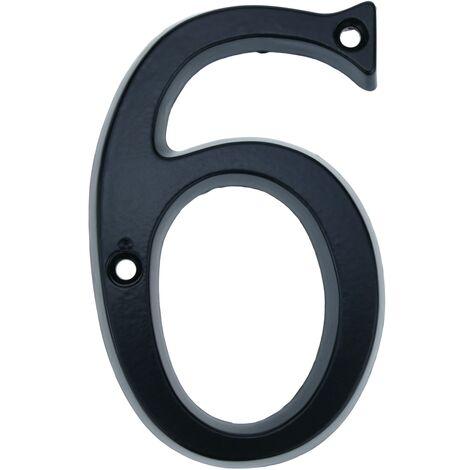 PrimeMatik - Number 6 in black metal 95mm with screws for labeling