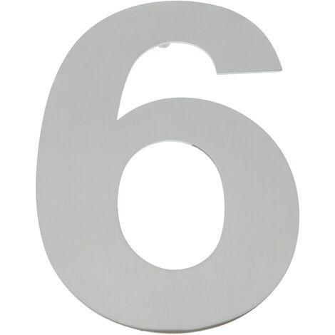 PrimeMatik - Número 6 en acero inoxidable de 150mm para rotulación