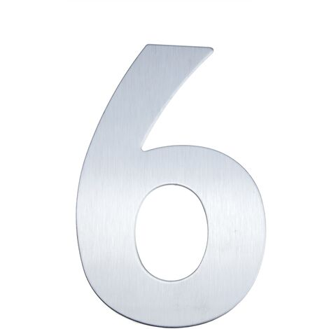 PrimeMatik - Número 6 en acero inoxidable de 8cm con adhesivo para rotulación