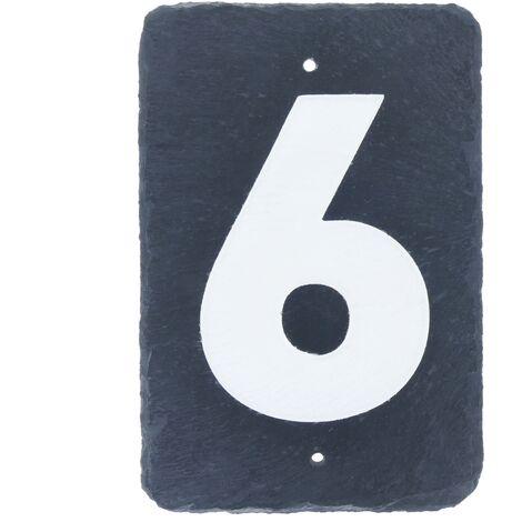 PrimeMatik - Número 6 en pizarra de 180x120mm para rotulación