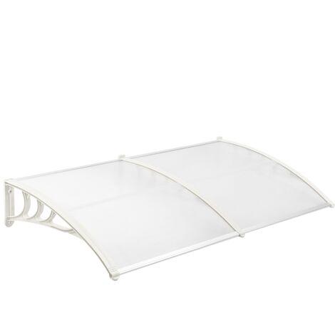 PrimeMatik Pensilina 200x80 cm Trasparente Tendone in policarbonato per Porte e finestre con Supporto Bianco