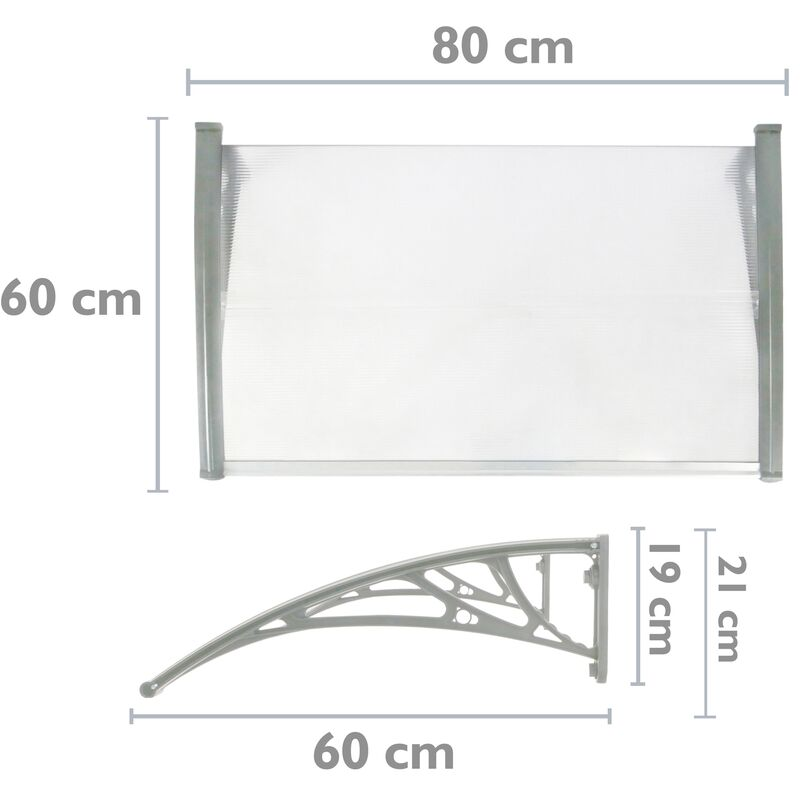 PrimeMatik Pensilina Tettoia in policarbonato per Porta o Finestra per Esterno Grigio 200x100cm