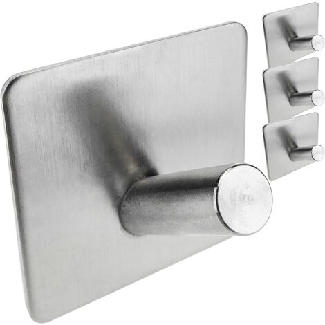 PrimeMatik - Perchero de pared de acero inoxidable. Colgador de ropa y toallero con 1 gancho inclinado 4-pack