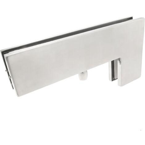 PrimeMatik - Pernio y bisagra L-fija superior de aluminio para puerta de cristal para cierrapuertas de suelo