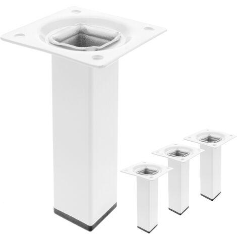 PrimeMatik - Pieds de table carré pour meubles et bureau en acier blanc 10cm 4-pack