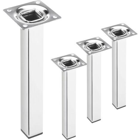 PrimeMatik - Pieds de table carré pour meubles et bureau en acier chromé 25cm 4-pack