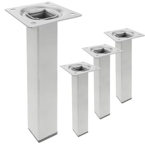 PrimeMatik - Pieds de table carré pour meubles et bureau en acier gris 25cm 4-pack