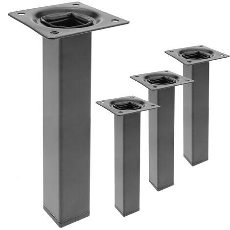 PrimeMatik Pieds de Table carr/é pour Meubles et Bureau en Acier Noir 75cm 4-Pack PrimeMatik.com