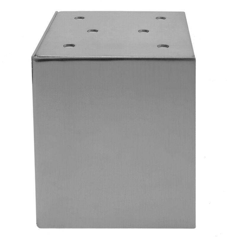 PrimeMatik Pies Cuadrados para Mesa y Mueble Patas en Acero Gris de 10cm 4-Pack