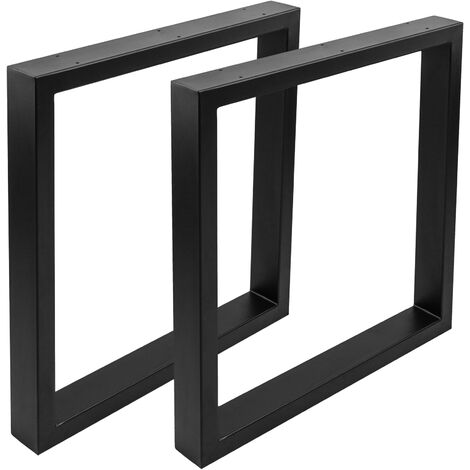 PrimeMatik - Pies rectangulares para mesa. Patas en acero negro 680 x 80 x 710 mm 2-pack, base 680 x 80 mm