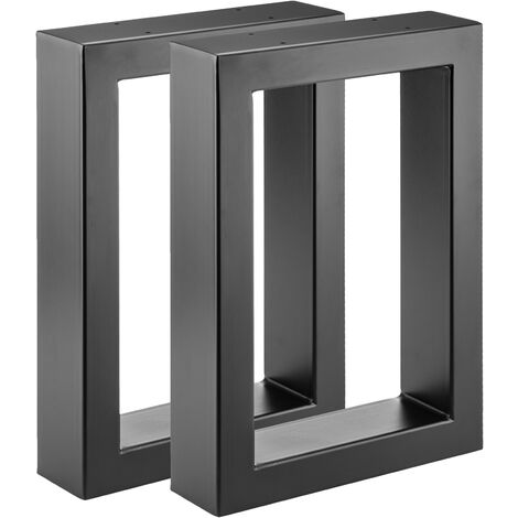 PrimeMatik - Pies rectangulares para mesita y banqueta Patas en acero negro 300 x 80 x 430 mm 2-pack