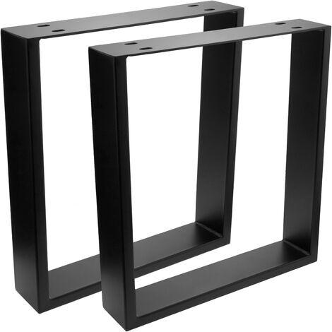 PrimeMatik - Pies rectangulares para mesita y banqueta Patas en acero negro 400 x 80 x 430 mm 2-pack